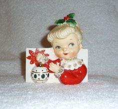 Vintage Christmas Napco Girl Planter Headvase Ornament 1950s Retro XMAS