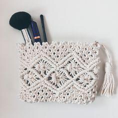 Macrame Handbag or Cosmetic Kit Cosmetic Kit, Macrame, Miniatures, Make Up, Cosmetics, Throw Pillows, Gifts, Bags, Inspiration