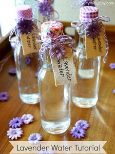 Lavender Water Tutorial {DIY Linen Spray} - switch out for young living oils of course :-) Lavender Crafts, Lavender Sachets, Lavander, Lavender Ideas, Lavender Water Recipe, Lavender Recipes, Lavender Scent, Cleaning Tips, Beauty Tutorials