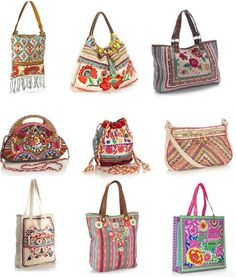 A wardrobe full of boho bags. Hippie Style, Estilo Hippie Chic, Hippy Chic, Boho Style, Estilo Boho, Boho Chic, Hippie Bags, Boho Bags, Fashion Bags