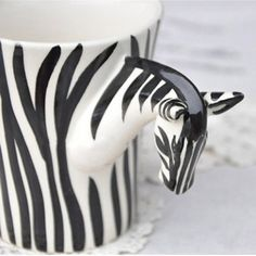 Fashion Handpainted Zebra Ceramic Cup --- omg! I totally found this cup at a yard sale last summer! Lol its awesome