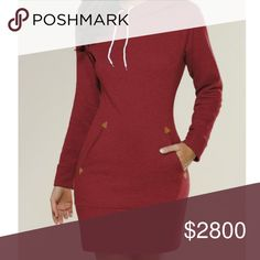 Red Sweatshirt Hoodie Dress Cute hoodie dress in red. Hoodie has double lining in black with white pull strings. Faux shoulder zip. Nice sweatshirt material with faux leather detail. Perfect with boots and tights. Second pic shows accurate color (more red than burgundy). NOTE: Tag displays a size larger than the actual fit. Please see measurements below for most accurate fit.  S - Bust: 36.22, Length: 33.86  M - Bust: 37.80, Length: 34.25  L - Bust: 39.37, Length: 34.65 Dresses Long Sleeve
