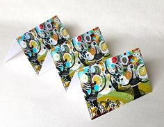 Cards Blank Set of 3 Stationary Trees Flowers Birds by Inspireuart, $9.00