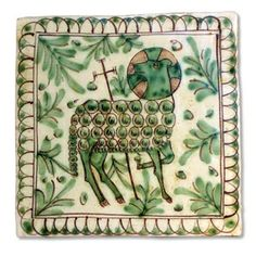 Tile 03 Medieval collection- Lamb of God handmade and hand painted in Caltagirone, Italy by Giacomo Alessi, Follow link for more of his work.