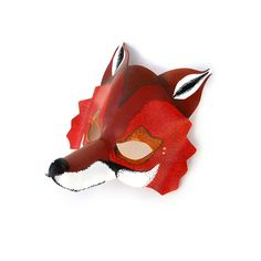 Halloween Red Fox Leather Mask Animal Forest Carnival by LMEmasks, $68.00