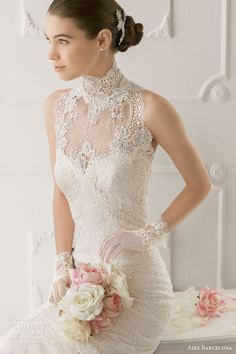 Aire Barcelona 2014 Mandarin/Chinese Collar Lace Wedding Dress