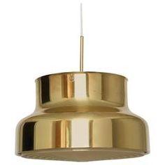 "Swedish Ceiling Pendant ""Bumling"" by Atelije Lyktan in Brass Vintage Chandelier, Chandelier Pendant Lights, Ceiling Pendant, Modern Chandelier, Vintage Lighting, Ceiling Lights, Chandeliers, Light Reflection, Contemporary Lamps"