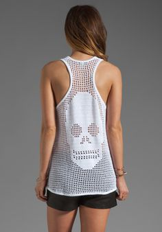 AUTUMN CASHMERE Hand Crochet Skull Tank in Bleach White at Revolve Clothing - Free Shipping!