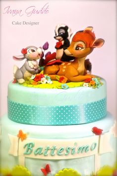 """""""Bambi and friends"""" cake - Cake by ivana guddo Bambi, Birthday Cake Toppers, Cupcake Toppers, Pato Donald Y Daisy, Peter Rabbit Cake, Friends Cake, Chip And Dale, Disney Cakes, Polymer Clay Creations"""