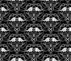 Winged Skulls-black custom fabric by thecalvarium for sale on Spoonflower Stick On Wallpaper, Till Death, Black Fabric, Custom Fabric, Spoonflower, Skulls, Fabric Design, Fabrics, Gift Wrapping