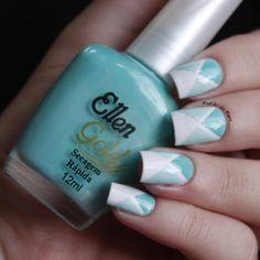 (Geo) white, light mint green, mint green   Instagram photo by blogmundodamare #nail #nails #nailart