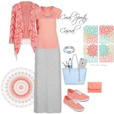 Coral Sporty Casual by beautifully-modest-fashion on Polyvore featuring maurices, NIKE, Vans, MICHAEL Michael Kors, Vera Bradley, 1928, Georg Jensen and Uncommon