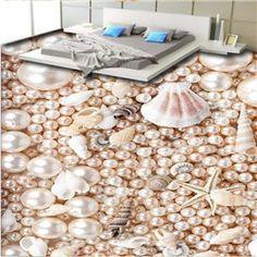 Splendid Beautiful Pearls and Seashells Pattern Waterproof Splicing 3D Floor Murals