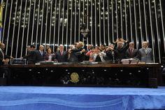 Renan Calheiros (PMDB-AL) comemora com Xuxa Meneghel aprovação da Lei Menino Bernardo (04/06/2014). Foto: Jonas Pereira