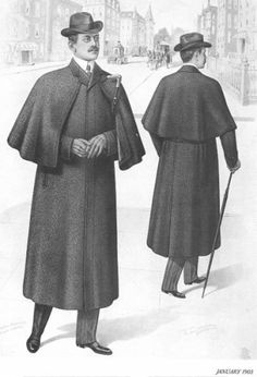 Inverness Cape- Winged cape worn by men in the 19th century, fitting closely around the neck and draped over the shoulders. The cape was sleeveless and was worn in the rain.