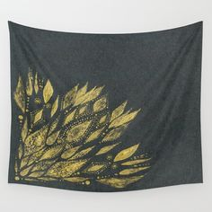 Gold Black Flower Wall Tapestry black gold tapestry by lake1221