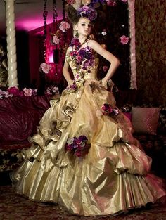 Gypsy wedding dress is one of the favorites. This is due to with the bride and groom who want a unique wedding theme or cultural. The Gypsy wedding dress Corset Wedding Gowns, Gold Wedding Gowns, Custom Wedding Dress, Modest Wedding Dresses, Bridal Gowns, Prom Dresses, Dresses 2014, Gothic Wedding, Yellow Wedding