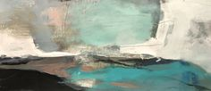 Bridging Heaven and Earth-abstract landscape by Joan Fullerton Acrylic ~ 19 x 40