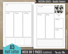 Weekly Planner on two pages / 5 patterns - Doodle Trees | A5/Half size letter | 300 dpi JPG & PDF files by tiendatita on Etsy