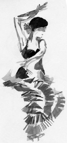 Flamenco dancer sketch in ink
