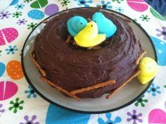 Bird's nest Spring time bundt cake with Peeps and pretzels.