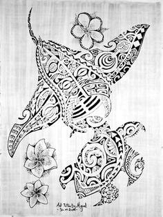 Motifs de Tortue et Raie Manta Marquisiennes pour Tatouage Polynésien Maori accompagnées de trois fleurs polynésiennes ou Tiares