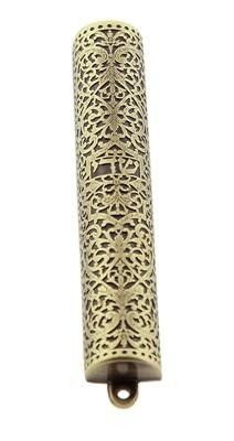 Mezuzah 10 Centimeters Quality Judaica Handmade Jeweled Home Blessing Cover Glass With Decorative Black and Gold Design