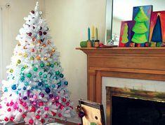 christmas, christmas tree, decoration, rainbow
