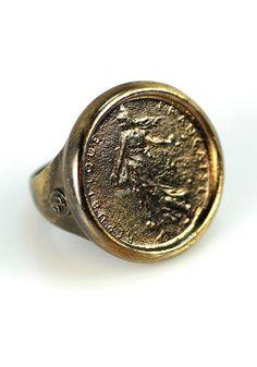 18k Blackened Goddess Coin Ring