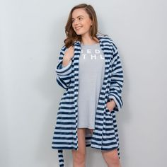 Emily - Flannel Fleece Dressing Gown - Navy / Blue Heather A