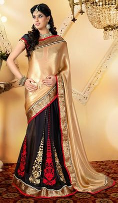 G3 Fashions Black beige georgette satin shimmer party wear Sarees  Product Code : G3-LS13394 Price : INR RS 3752