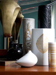 beautiful objets on a Mid Century dresser:  Karl Springer brass sculpture, Rosenthal vases   https://www.etsy.com/listing/130139604/karl-springer-brass-sculpture-steer?ref=shop_home_active_7