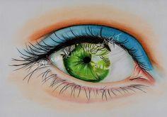 green eye pastel drawing on A5 paper  https://www.facebook.com/BrauckmannsART