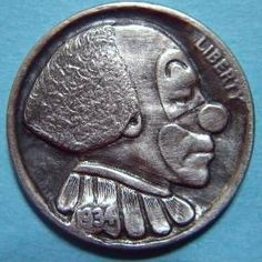 By Ralph Perrico- Bozo Hobo Hobo Nickel, Buffalo, Coins, Carving, Rooms, Wood Carvings, Sculptures, Printmaking, Water Buffalo