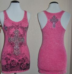 Vocal Biker Chic Tattoo Cross Western Crystals Racer Back Tank Top Pink S M L XL