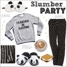 Slumber Party with Pandas by pat912 on Polyvore featuring Life is good, P.J. Salvage, slumberparty and polyvoreeditorial
