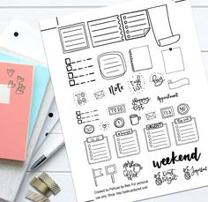 Doodles and Lines Theme Mini Planner Weekly Sticker Kit