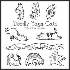 De la mano dibujado Yoga Digital Cat Imágenes por LePetiteMarket