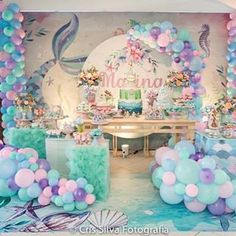 Have fun under the sea with a mermaid party fit for an underwater princess! Mermaid Party supplies I Mermaid Party Ideas I Mermaid Party I Mermaid Party 1st Birthday Party For Girls, Mermaid Theme Birthday, Little Mermaid Birthday, Little Mermaid Parties, Birthday Party Themes, Mermaid Themed Party, Baby Girl Shower Themes, Girl Baby Shower Decorations, Deco Ballon