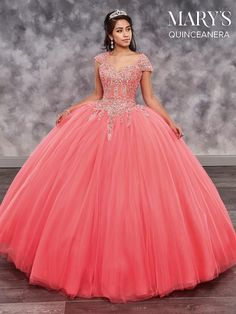 Mary's Quinceanera Strapless tulle quinceanera ball gown features sweetheart bodice with embroidery and beading details, detachable cap sleeves, sweep train, Quinceanera Dresses Coral, Poofy Prom Dresses, Robes Quinceanera, Puffy Dresses, Quince Dresses, Sweet 16 Dresses, 15 Dresses, Ball Dresses, Cute Dresses