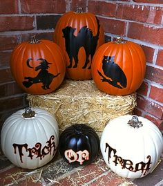 Trick or Treat Pumpkins with vinyl and the cricut