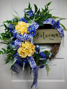 Yellow Wreath with Blue Spring Summer Wreaths Floral Wreath