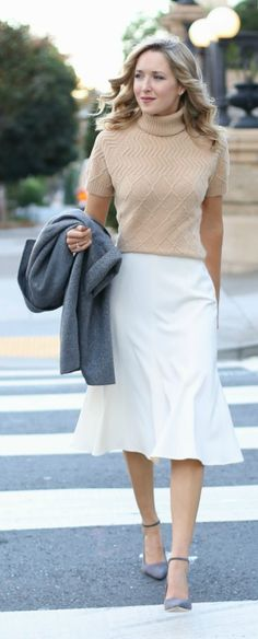 grey herringbone three-quarter sleeve wool coat, ivory a-line midi skirt, camel cableknit short-sleeve turtleneck sweater, grey suede ankle strap pumps {work wear, office style}