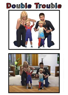 ♥ Double Trouble ♥• Total 1 group family pose for the gallery and in-game. For a female, male and toddler (male and female) sims • The female must be placed first, then the male, then the toddlers •...