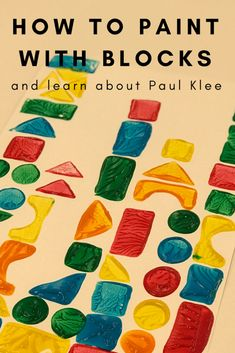 How To Paint With Blocks and Learn About Paul Klee will guide you through introducing an important artist to toddlers and preschoolers. Or, if you're looking for something simpler, it will guide you through painting with a unique paintbrush – blocks! Preschool Painting, Kindergarten Art Projects, Toddler Painting Activities, Art Activities For Toddlers, Shape Art, New Shape, Artists For Kids, Art For Kids, Art With Toddlers