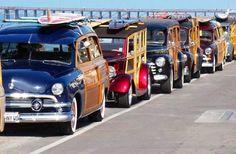 Vintage Automobiles Surfboard Beach  Woody Wagons
