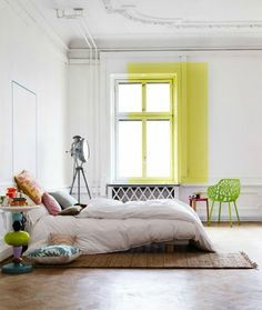 White Bedroom With Pop Of Color sunny-yellow-window-sill | athens house ideas | pinterest | home