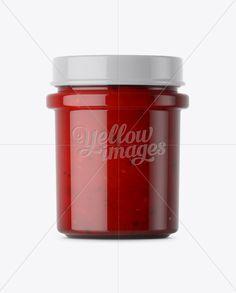 Glass Jar With Salsa Sauce Mockup - Eye-Level Shot