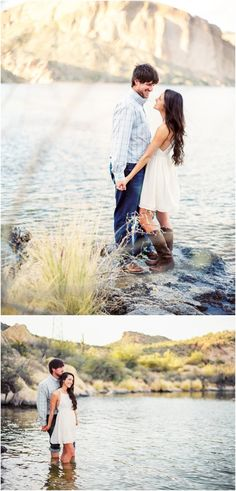 Canyon Lake, Arizona, film engagement photos - click to view more! The couple stepped into the lake for their engagement photos.