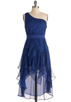 Flow, Flow, Quick, Quick Dress - Short, Blue, Solid, Ruffles, Prom, Wedding, One Shoulder, Tiered, Cocktail, Sheer, High-Low Hem